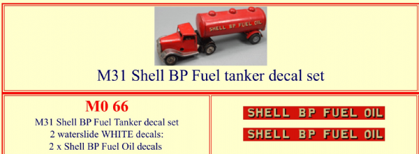 "M066 Tri-ang ( Triang ) Minic M31 "" SHELL BP FUEL OIL  "" Fuel Tanker decal set"